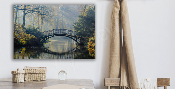 Park and a bridge canvas print