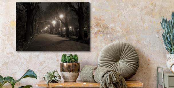 Park at night canvas print