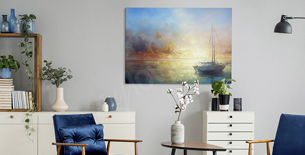 Pastel boat canvas print