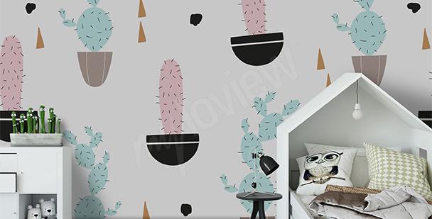 Pastel cacti mural
