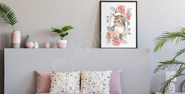 Pastel colored animal poster