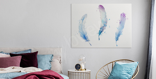 Pastel feathers canvas print