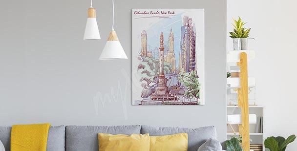 Pastel New York canvas print
