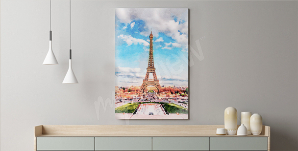 Paris canvas print for living room (canvas print for living room, Paris, panorama)