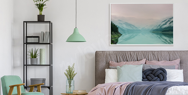 Pastel poster with a lake view