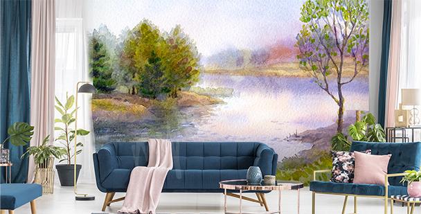 Pastel river view mural