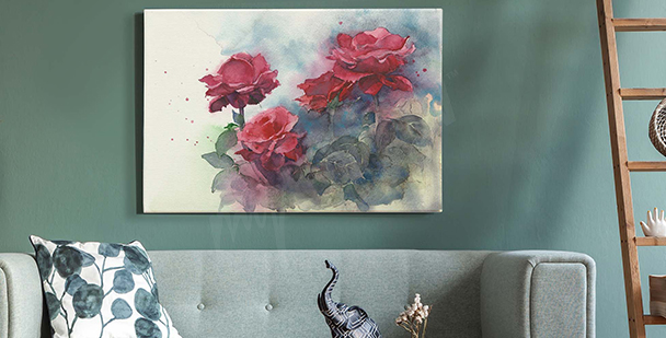 Pastel roses canvas print