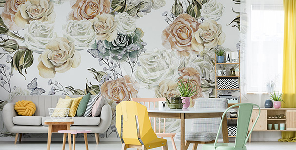 Pastel roses mural