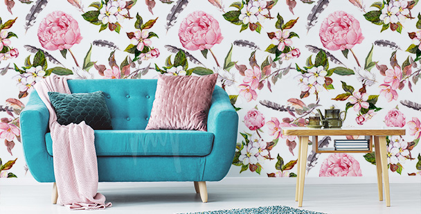 Peonies and feathers mural