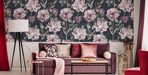 Peonies living room mural