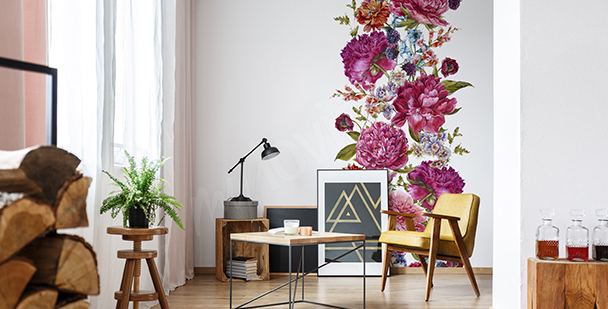 Peonies living room sticker