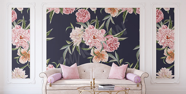 Peonies mural for the living room