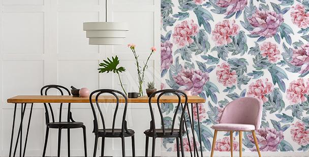 Peony dining room mural