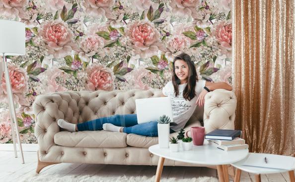 Peony living room mural