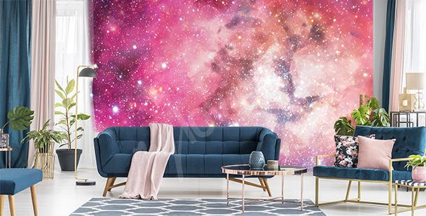 Pink galaxy mural