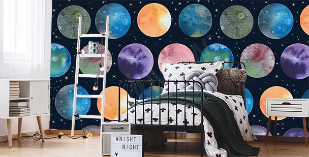 Planets mural for a teenager's bedroom
