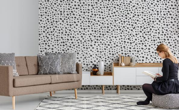 Polka dots mural for the living room