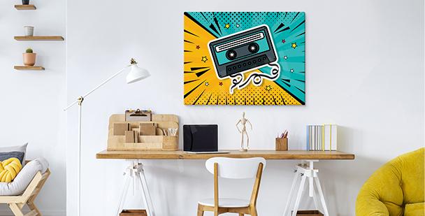 Pop art cassette canvas print