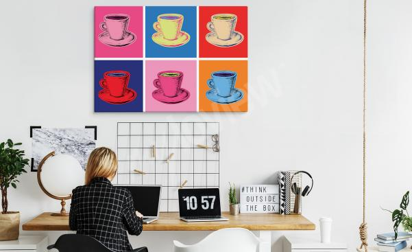 Pop art coffee cups office canvas print