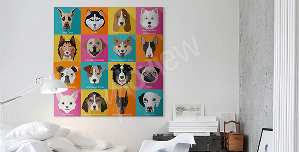 Pop-art style dog canvas print