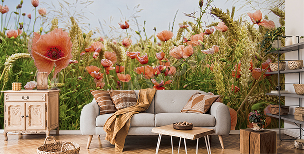 Poppies and wheat wall mural