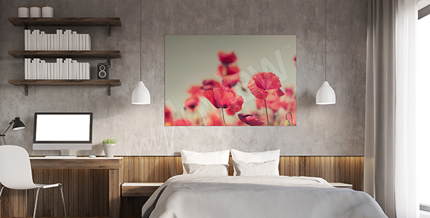 Poppies canvas print for bedroom