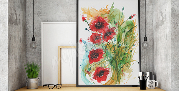 Poppies canvas print for living room