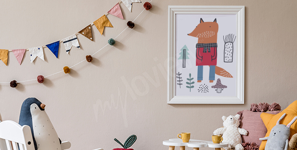 Poster for a boy's room with a fox
