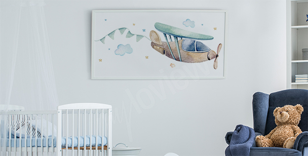 Poster for a boy's room with a plane