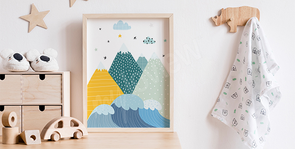 Poster for a boy's room with mountains