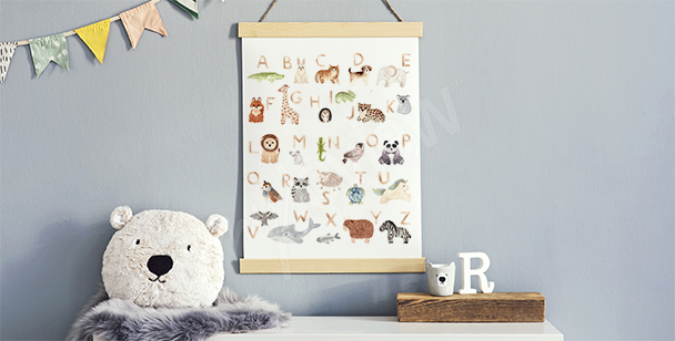 Poster for a boy's room with the alphabet