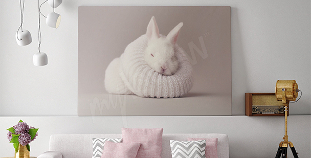 Rabbit canvas print for the living room