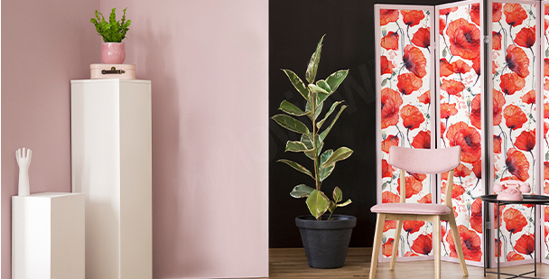 Red flowers living room sticker