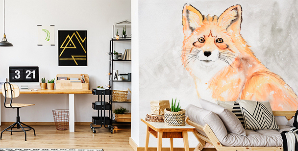 Red fox in snow mural