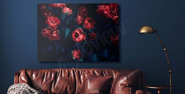 Red tulips in the dark canvas print
