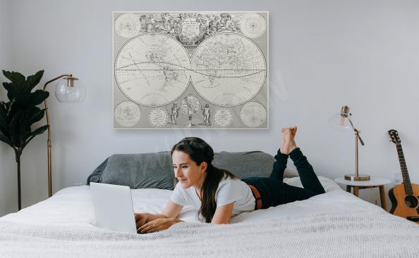 Retro map canvas print for bedroom