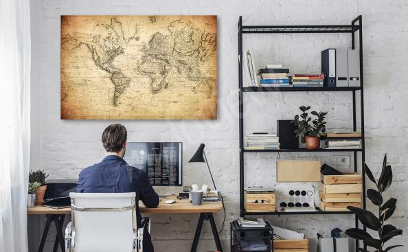 Retro map canvas print for office