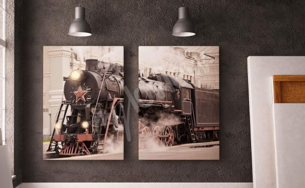 Retro steam train canvas print