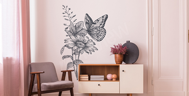Grey butterflies sticker