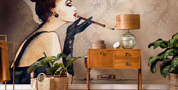 Retro woman wall mural