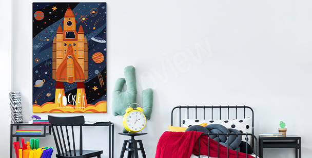 Rocket canvas print for teens