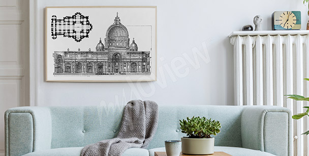 Roman architecture drawing poster