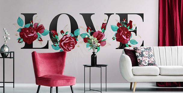 Romantic typographic mural