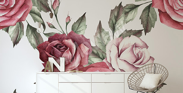 Rose bouquet mural