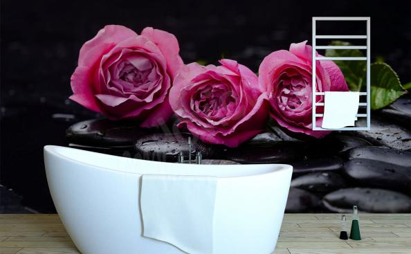 Rose mural for bathroom