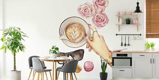 Roses and coffee sticker
