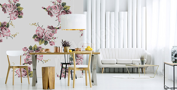 Roses living room mural