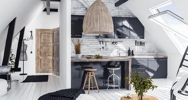 Loft apartment décor full of practical solutions
