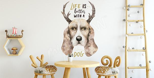 Scandinavian-style dog sticker