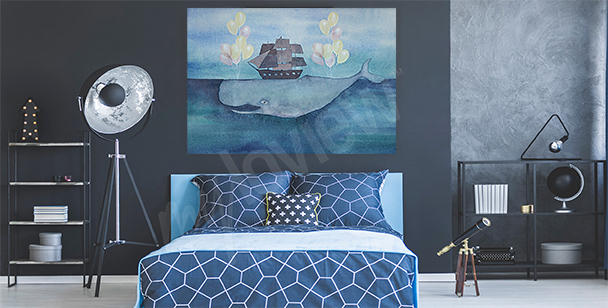 Sea and whale canvas print